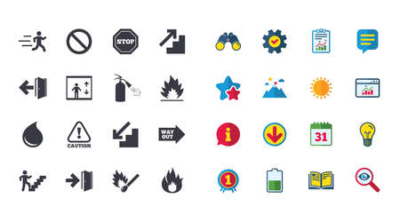Set of Emergency, Fire safety and Protection icons. Extinguisher, Exit and Attention signs. Caution, Water drop and Way out symbols. Calendar, Report and Browser window signs. Vector Illustration