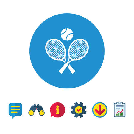 Raquettes de tennis avec l'icône de signe de balle. Symbole du sport. Panneaux de bulles d'information, de rapport et de discours. Jumelles, icônes de service et de téléchargement. Vecteur Banque d'images - 82181637