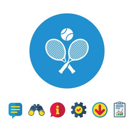 Tennisrackets met bal teken pictogram. Sport symbool. Informatie-, rapport- en tekstballonborden. Verrekijker, service en download pictogrammen. Vector
