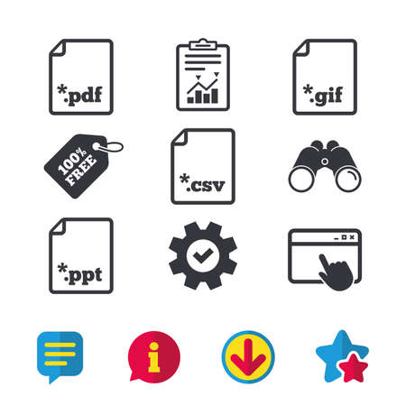 Download document icons. File extensions symbols. PDF, GIF, CSV and PPT presentation signs. Browser window, Report and Service signs. Binoculars, Information and Download icons. Stars and Chat. Vector Illustration