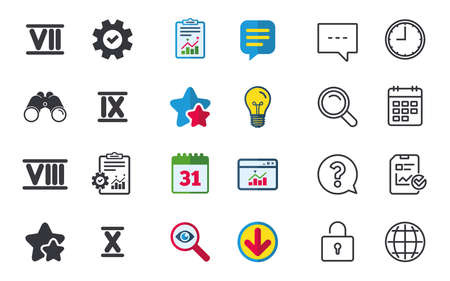 Roman numeral icons. 7, 8, 9 and 10 digit characters. Ancient Rome numeric system. Chat, Report and Calendar signs. Stars, Statistics and Download icons. Question, Clock and Globe. Vector