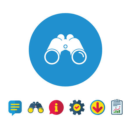 Binoculars icon. Find software sign. Spy equipment symbol. Information, Report and Speech bubble signs. Binoculars, Service and Download icons. Vector Stok Fotoğraf - 82183312