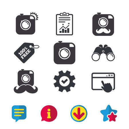 Hipster photo camera with mustache icons. Retro camera symbols. Browser window, Report and Service signs. Binoculars, Information and Download icons. Stars and Chat. Vector Ilustração