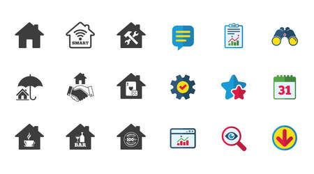 Real estate icons. House insurance, broker and casino with bar signs. Handshake deal, coffee and smart house symbols. Calendar, Report and Download signs. Stars, Service and Search icons. Vector Çizim