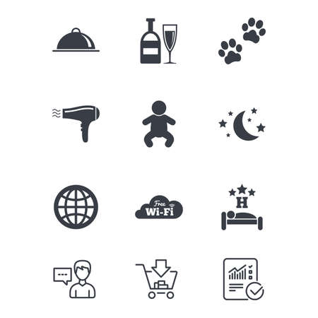 Hotel, apartment service icons. Restaurant sign. Alcohol drinks, wi-fi internet and sleep symbols. Customer service, Shopping cart and Report line signs. Online shopping and Statistics. Vector Illustration