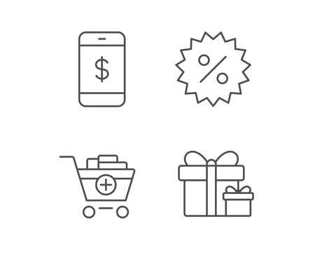 Icone di linea carrello, sconto e smartphone. Segno di scatole regalo Elementi di design di qualità. Tratto modificabile Vettore Archivio Fotografico - 82181654