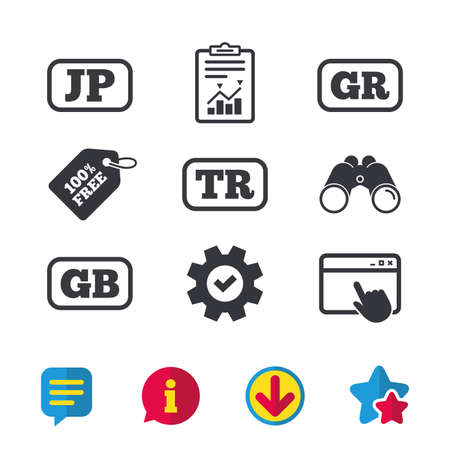 Language icons. JP, TR, GR and GB translation symbols. Japan, Turkey, Greece and England languages. Browser window, Report and Service signs. Binoculars, Information and Download icons. Stars and Chat