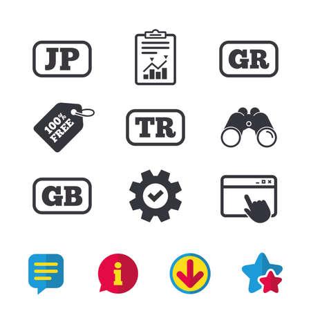 Taalpictogrammen. JP-, TR-, GR- en GB-vertaalsymbolen. Japan, Turkije, Griekenland en Engeland talen. Browservenster, rapport en serviceborden. Verrekijker, informatie en download pictogrammen. Sterren en chatten Stock Illustratie