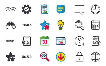 Programmer coder glasses icon. HTML5 markup language and CSS3 cascading style sheets sign symbols. Chat, Report and Calendar signs. Stars, Statistics and Download icons. Question, Clock and Globe