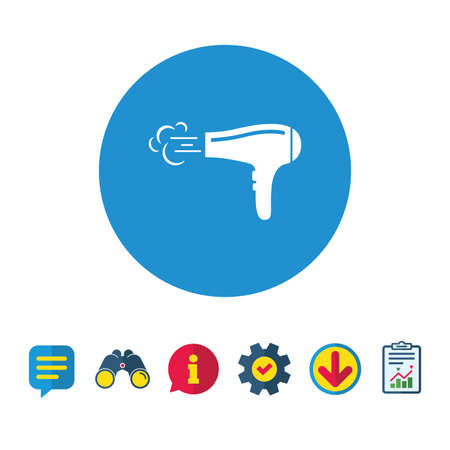 Hairdryer sign icon. Hair drying symbol. Blowing hot air. Turn on. Information, Report and Speech bubble signs. Binoculars, Service and Download icons. Vector