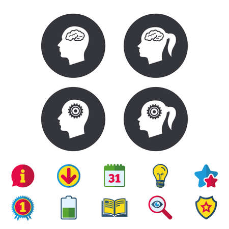 Head with brain icon. Male and female human think symbols. Cogwheel gears signs. Woman with pigtail. Calendar, Information and Download signs. Stars, Award and Book icons. Vector