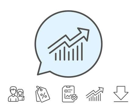 차트 라인 아이콘입니다. 보고서 그래프 또는 판매 성장 사인. 분석 및 통계 데이터 기호입니다. 보고서, 판매 쿠폰 및 차트 라인 기호. 다운로드, 그룹