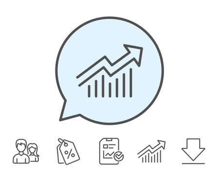 Chart line icon. Report graph or Sales growth sign. Analysis and Statistics data symbol. Report, Sale Coupons and Chart line signs. Download, Group icons. Editable stroke. Vector