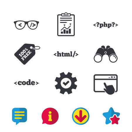 Programmer coder glasses icon. HTML markup language and PHP programming language sign symbols. Browser window, Report and Service signs. Binoculars, Information and Download icons. Stars and Chat