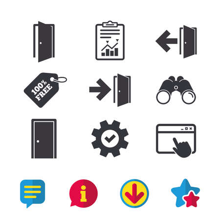 Doors icons. Emergency exit with arrow symbols. Fire exit signs. Browser window, Report and Service signs. Binoculars, Information and Download icons. Stars and Chat. Vector
