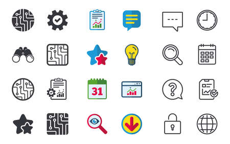 Circuit board icons. Technology scheme circles and squares sign symbols. Chat, Report and Calendar signs. Stars, Statistics and Download icons. Question, Clock and Globe. Vector