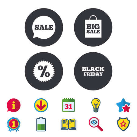 best book: Sale speech bubble icon. Discount star symbol. Black friday sign. Big sale shopping bag. Calendar, Information and Download signs. Stars, Award and Book icons. Light bulb, Shield and Search. Vector