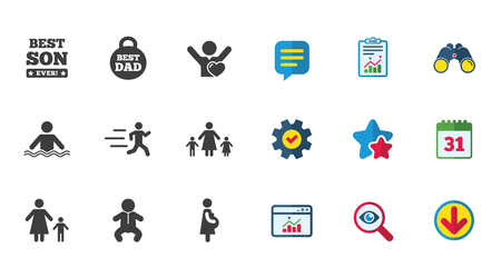 People, family icons. Swimming, baby and pregnant woman signs. Best dad, runner and fan symbols. Calendar, Report and Download signs. Stars, Service and Search icons. Statistics, Binoculars and Chat