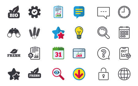 Natural fresh Bio food icons. Gluten free agricultural sign symbol. Chat, Report and Calendar signs. Stars, Statistics and Download icons. Question, Clock and Globe. Vector
