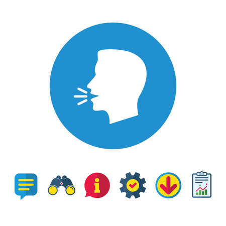 Talk or speak icon. Loud noise symbol. Human talking sign. Information, Report and Speech bubble signs. Binoculars, Service and Download icons. Vector Illustration