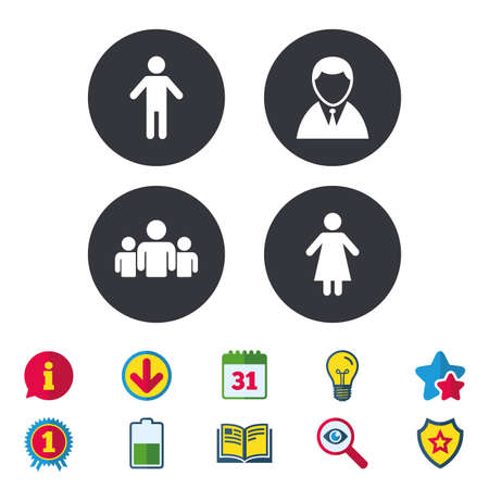 Businessman person icon. Group of people symbol. Man and Woman signs. Calendar, Information and Download signs. Stars, Award and Book icons. Light bulb, Shield and Search. Vector