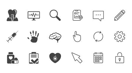Medicine, medical health and diagnosis icons. Blood, syringe injection and neurology signs. Tooth implant, magnifier symbols. Chat, Report and Calendar line signs. Service, Pencil and Locker icons