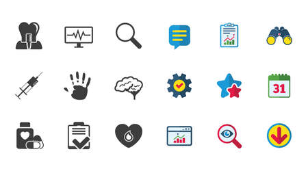 Medicine, medical health and diagnosis icons. Blood, syringe injection and neurology signs. Tooth implant, magnifier symbols. Calendar, Report and Download signs. Stars, Service and Search icons Ilustrace