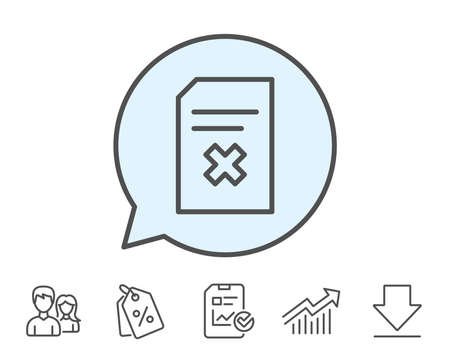 Remove Document line icon. Delete Information File sign. Paper page concept symbol. Report, Sale Coupons and Chart line signs. Download, Group icons. Editable stroke. Vector Illustration