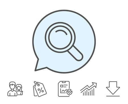 Search line icon. Magnifying glass sign. Enlarge tool symbol. Report, Sale Coupons and Chart line signs. Download, Group icons. Editable stroke. Vector Illustration