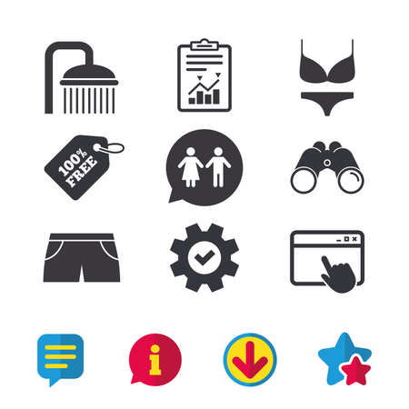 Zwembad pictogrammen. Douche waterdruppels en badmode symbolen. WC Toilet tekstballon teken. Trunks en damesondergoed. Browservenster, rapport en serviceborden. Vector