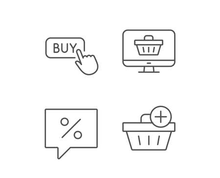 쇼핑 카트, 할인 및 구매 단추 줄 아이콘. 업데이트 쇼핑 바구니 기호입니다. 품질 디자인 요소입니다. 편집 가능한 획. 벡터 일러스트