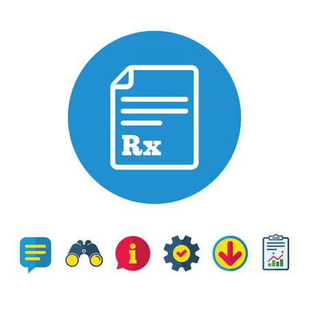 Medical prescription Rx sign icon. Pharmacy or medicine symbol. Information, Report and Speech bubble signs. Binoculars, Service and Download icons. Vector Illustration