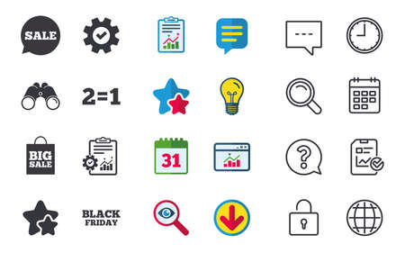 Sale speech bubble icons. Two equals one. Black friday sign. Big sale shopping bag symbol. Chat, Report and Calendar signs. Stars, Statistics and Download icons. Question, Clock and Globe. Vector Stock Vector - 82181799