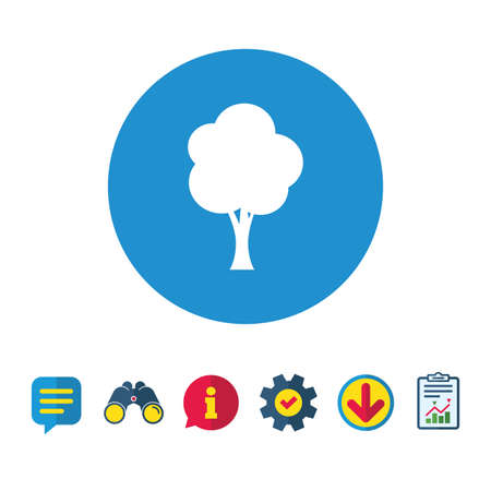 Tree sign icon. Forest symbol. Information, Report and Speech bubble signs. Binoculars, Service and Download icons. Vector