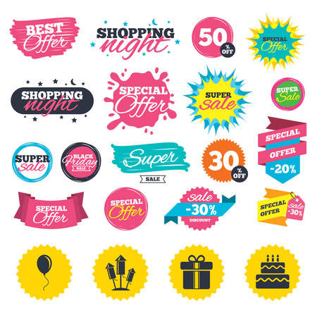 burning: Sale shopping banners. Birthday party icons. Cake and gift box signs. Air balloons and fireworks rockets symbol. Web badges, splash and stickers. Best offer. Vector Illustration