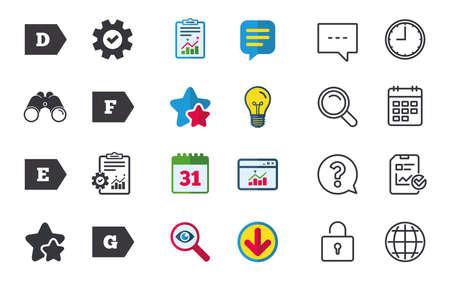 에너지 효율 클래스 아이콘. 에너지 소비 기호를 기호화합니다. 클래스 D, E, F 및 G. 채팅, 보고서 및 일정 간판. 별, 통계 및 다운로드 아이콘. 질문, 시