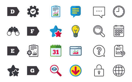 Energy efficiency class icons. Energy consumption sign symbols. Class D, E, F and G. Chat, Report and Calendar signs. Stars, Statistics and Download icons. Question, Clock and Globe. Vector