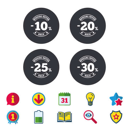 Sale discount icons. Special offer stamp price signs. 10, 20, 25 and 30 percent off reduction symbols. Calendar, Information and Download signs. Stars, Award and Book icons. Vector