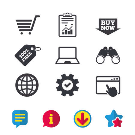 Online shopping icons. Notebook pc, shopping cart, buy now arrow and internet signs. WWW globe symbol. Browser window, Report and Service signs. Binoculars, Information and Download icons. Vector Stock Vector - 82181956
