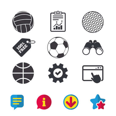Sport balls icons. Volleyball, Basketball, Soccer and Golf signs. Team sport games. Browser window, Report and Service signs. Binoculars, Information and Download icons. Stars and Chat. Vector Illustration