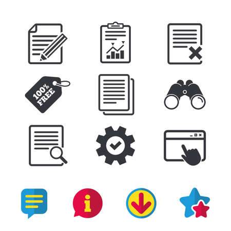 File document icons. Search or find symbol. Edit content with pencil sign. Remove or delete file. Browser window, Report and Service signs. Binoculars, Information and Download icons. Stars and Chat Illustration