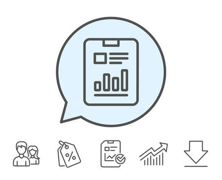 Report document line icon. Analysis Chart or Sales growth sign. Statistics data symbol. Report, Sale Coupons and Chart line signs. Download, Group icons. Editable stroke. Vector Illustration