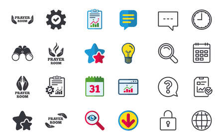 Prayer room icons. Religion priest faith symbols. Pray with hands. Chat, Report and Calendar signs. Stars, Statistics and Download icons. Question, Clock and Globe. Vector