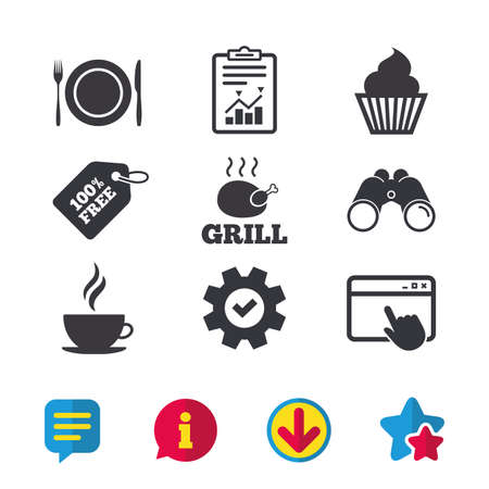 Food and drink icons. Muffin cupcake symbol. Plate dish with fork and knife sign. Hot coffee cup. Browser window, Report and Service signs. Binoculars, Information and Download icons. Stars and Chat
