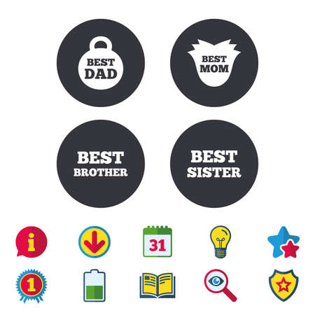Best mom and dad, brother and sister icons. Weight and flower signs. Award symbols. Calendar, Information and Download signs. Stars, Award and Book icons. Light bulb, Shield and Search. Vector Ilustrace