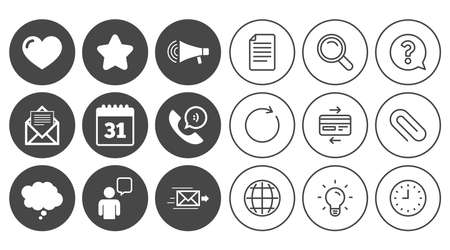 Mail, contact icons. Favorite, like and calendar signs. E-mail, chat message and phone call symbols. Document, Globe and Clock line signs. Lamp, Magnifier and Paper clip icons. Vector Illustration