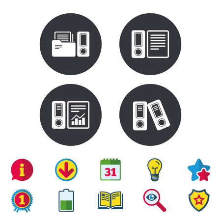 Accounting report icons. Document storage in folders sign symbols. Calendar, Information and Download signs. Stars, Award and Book icons. Light bulb, Shield and Search. Vector Stock Vector - 82181860