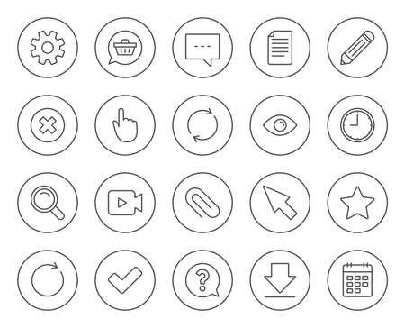 Document, Time and Calendar line icons. Question, Chat and Pencil signs. Cogwheel, Download and Attach clip symbols. Mouse cursor, Magnifier and Shopping cart. Circle buttons with linear elements Illustration