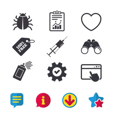 Bug and vaccine syringe injection icons. Heart and spray can sign symbols. Browser window, Report and Service signs. Binoculars, Information and Download icons. Stars and Chat. Vector Illustration