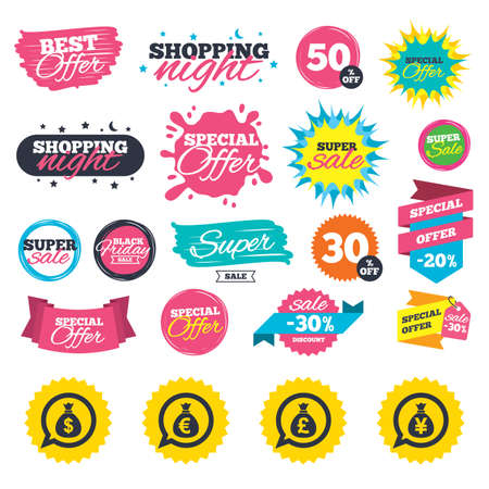 Sale shopping banners. Money bag icons. Dollar, Euro, Pound and Yen speech bubbles symbols. USD, EUR, GBP and JPY currency signs. Web badges, splash and stickers. Best offer. Vector
